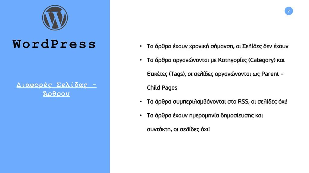 7 WordPress • Τα άρθρα έχουν χρονική σήμανση, ο...
