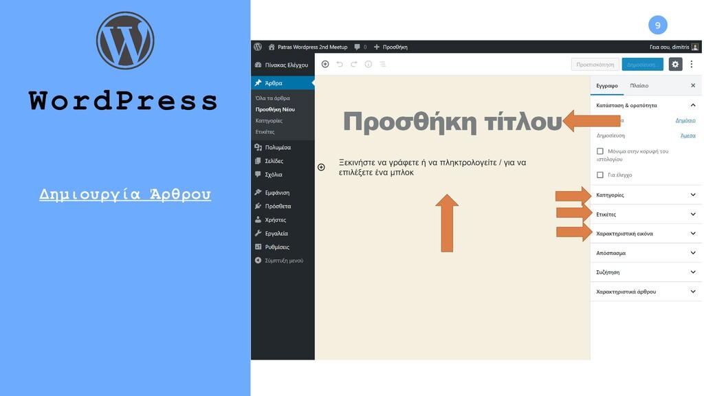 9 WordPress Δημιουργία Άρθρου