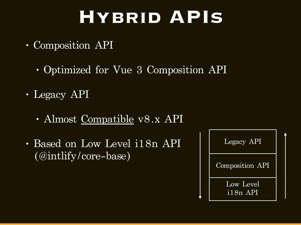 Hybrid APIs • Composition API • Optimized for V...