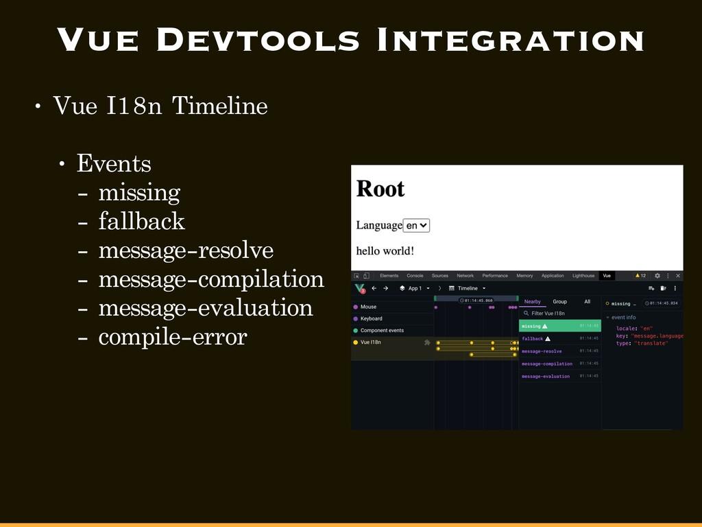 Vue Devtools Integration • Vue I18n Timeline • ...