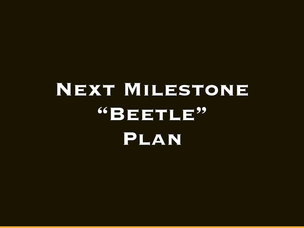 "Next Milestone ""Beetle"" Plan"