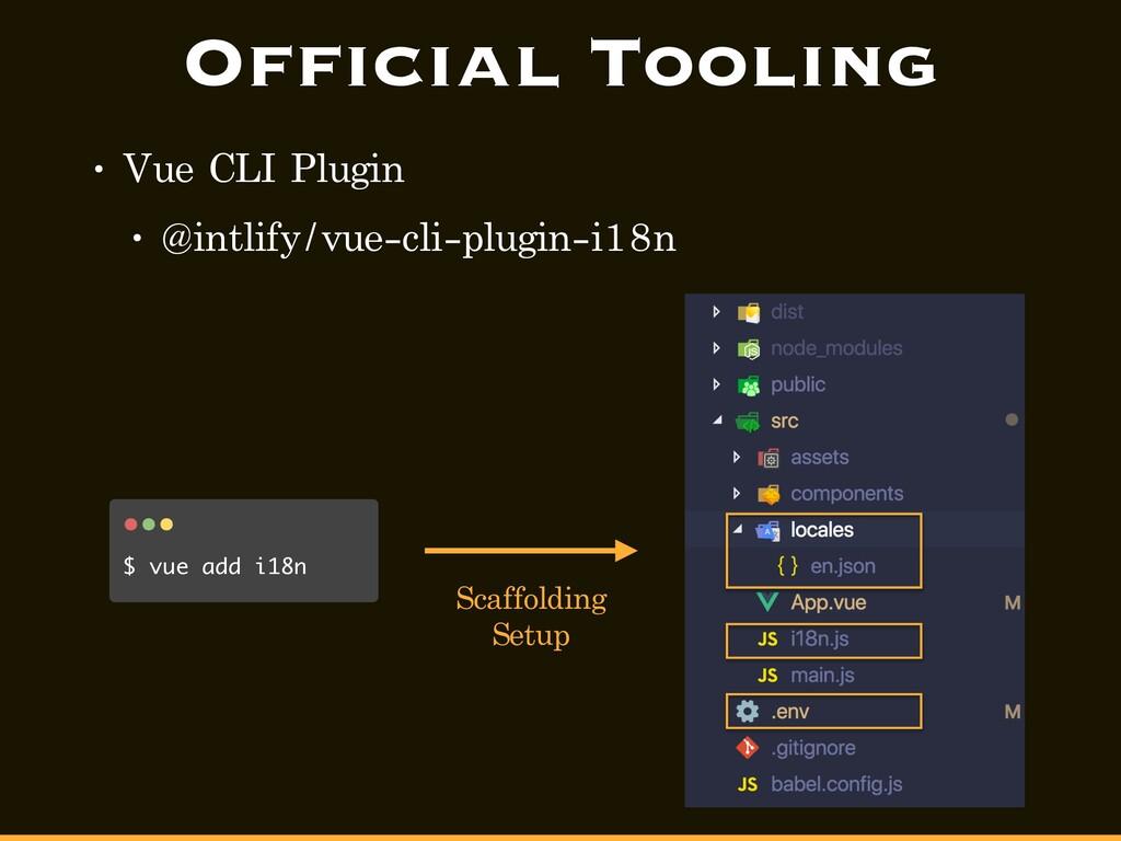 Official Tooling • Vue CLI Plugin • @intlify/vu...