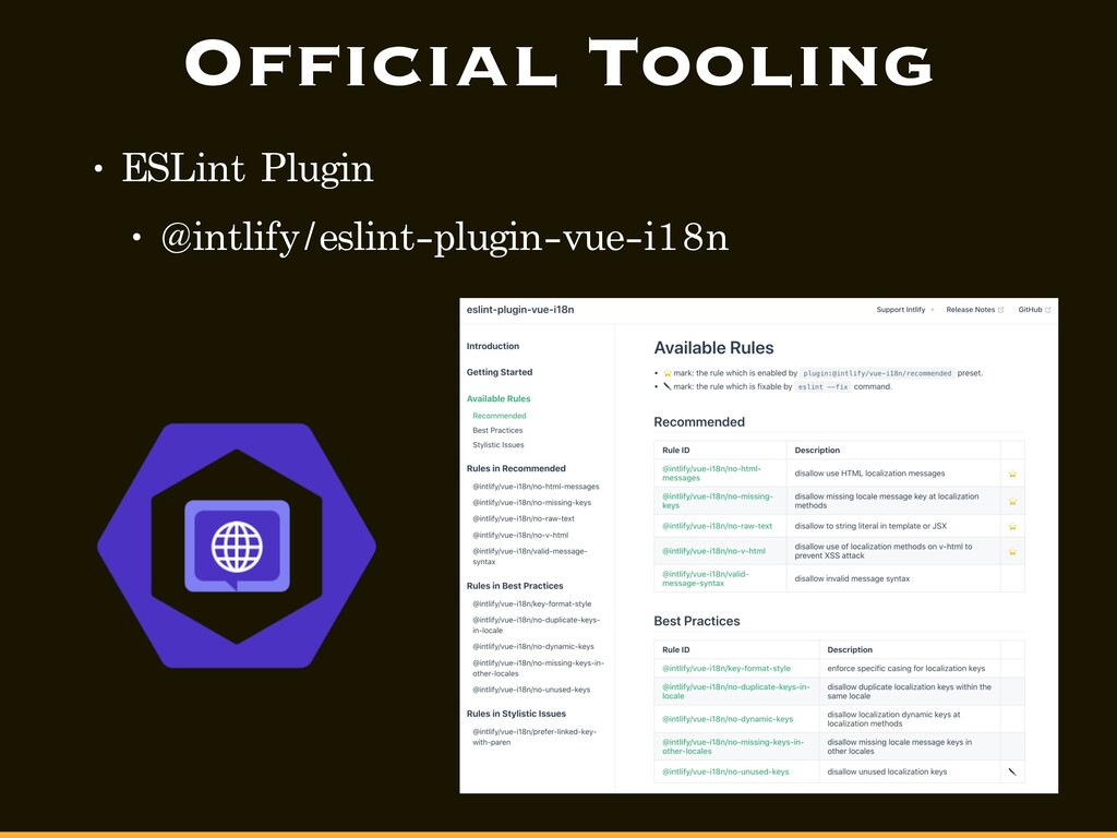 Official Tooling • ESLint Plugin • @intlify/esl...