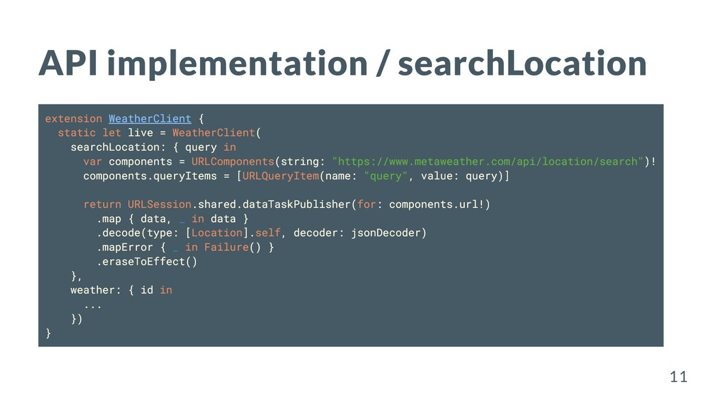 API implementation / searchLocation extension W...