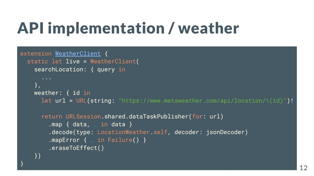 API implementation / weather extension WeatherC...