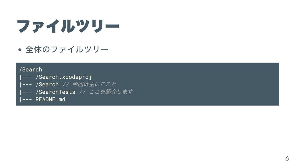 ファイルツリー 全体のファイルツリー /Search  --- /Search.xcodepr...