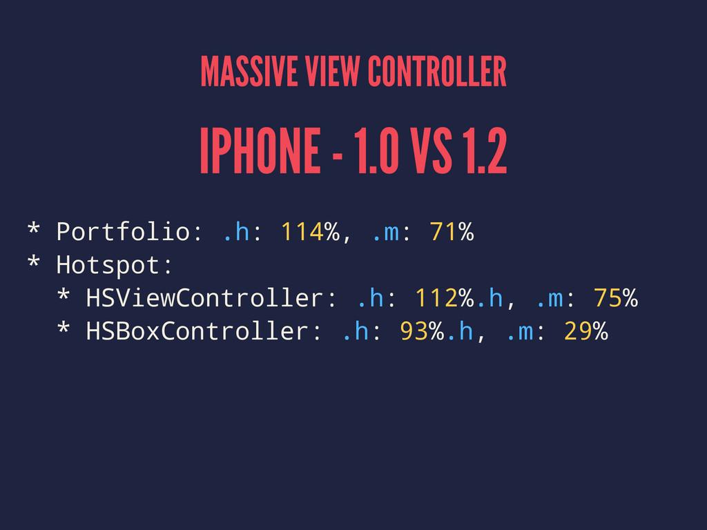 MASSIVE VIEW CONTROLLER IPHONE - 1.0 VS 1.2 * P...