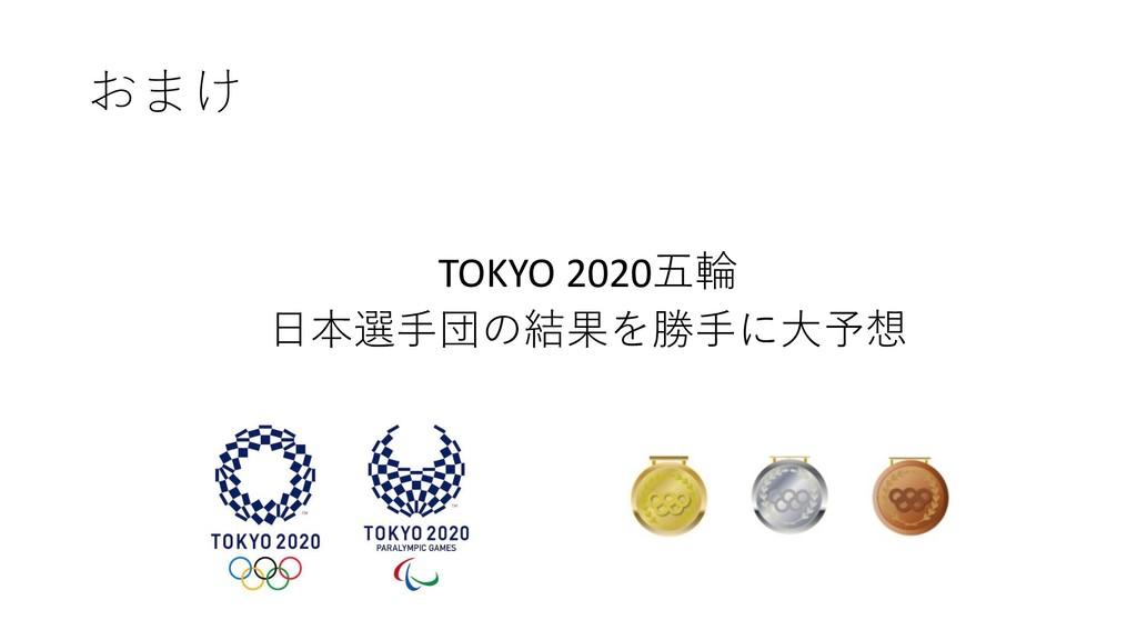 おまけ TOKYO 2020五輪 日本選手団の結果を勝手に大予想
