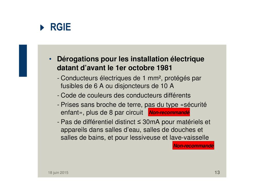 RGIE • Dérogations pour les installation électr...