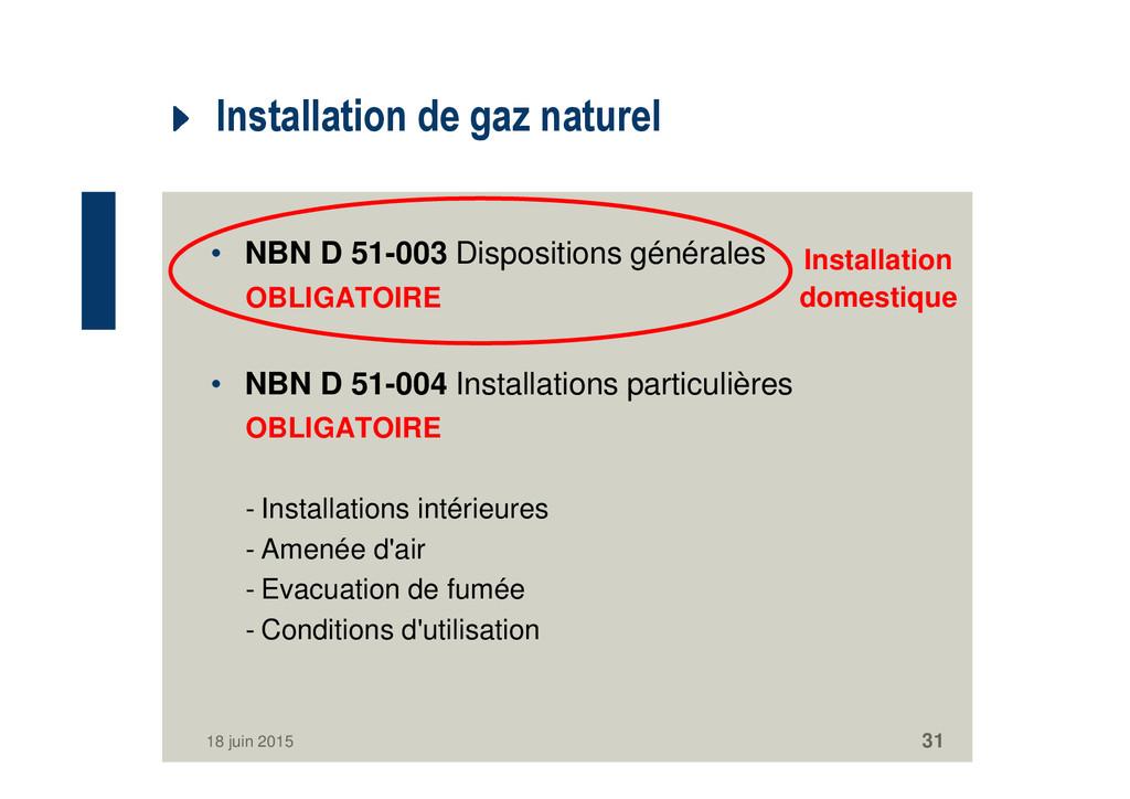 Installation de gaz naturel • NBN D 51-003 Disp...
