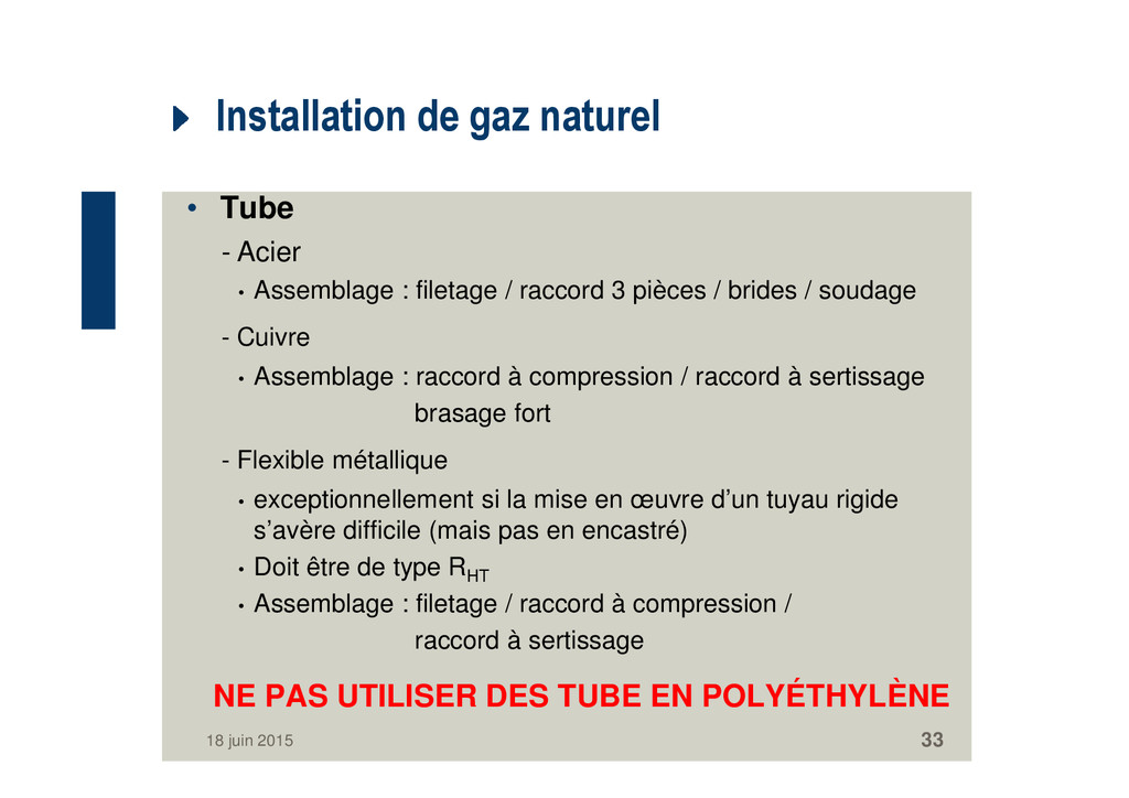 Installation de gaz naturel • Tube - Acier • As...