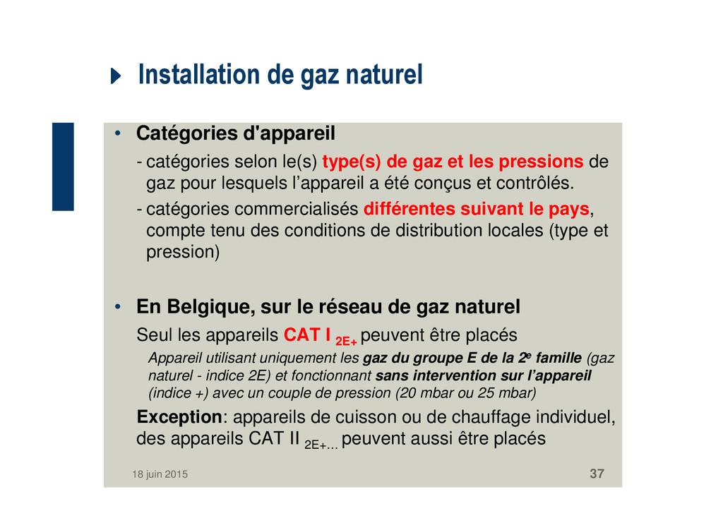 Installation de gaz naturel • Catégories d'appa...
