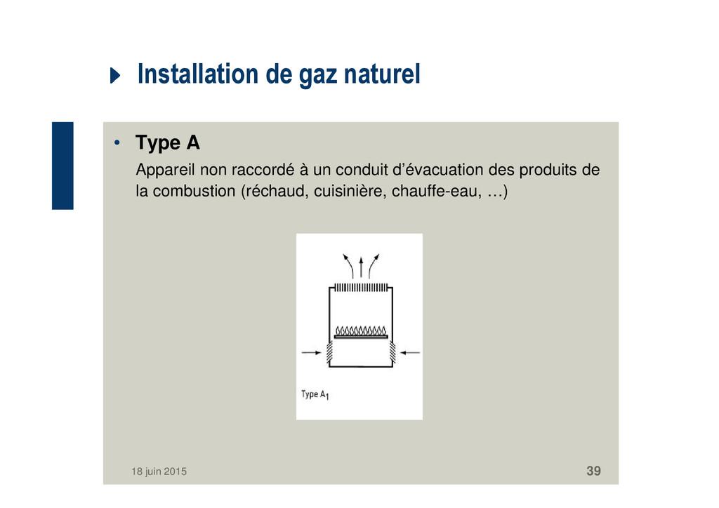 Installation de gaz naturel • Type A Appareil n...