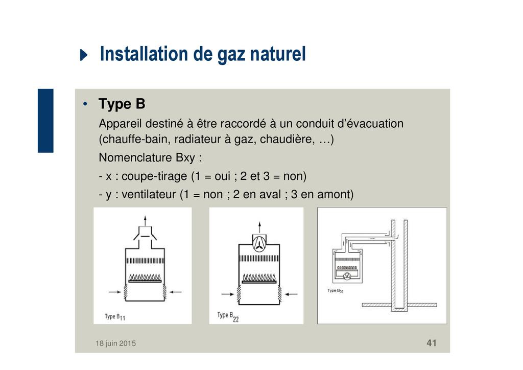 Installation de gaz naturel • Type B Appareil d...
