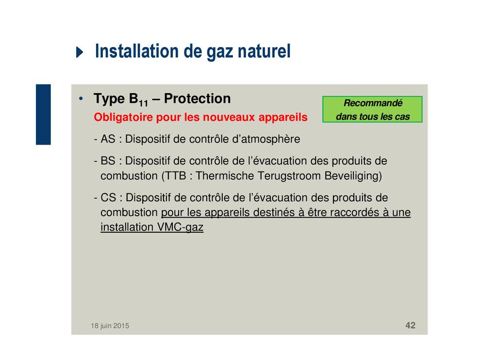 Installation de gaz naturel • Type B11 – Protec...