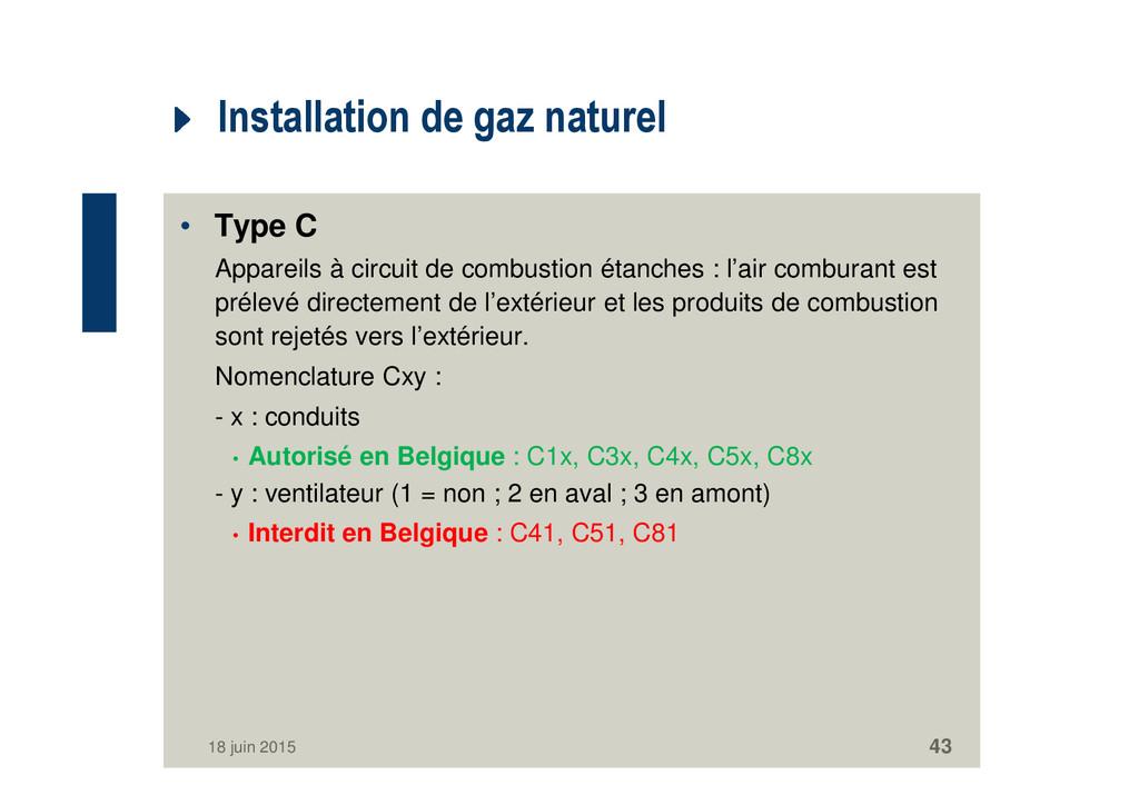 Installation de gaz naturel • Type C Appareils ...