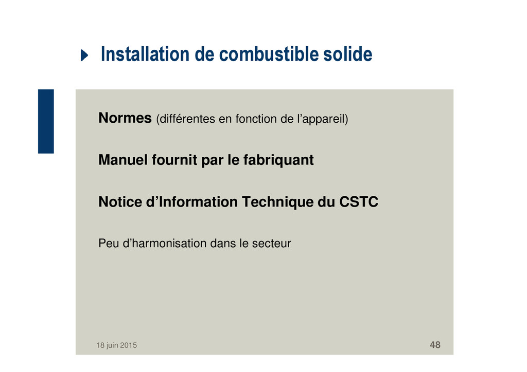 Installation de combustible solide Normes (diff...