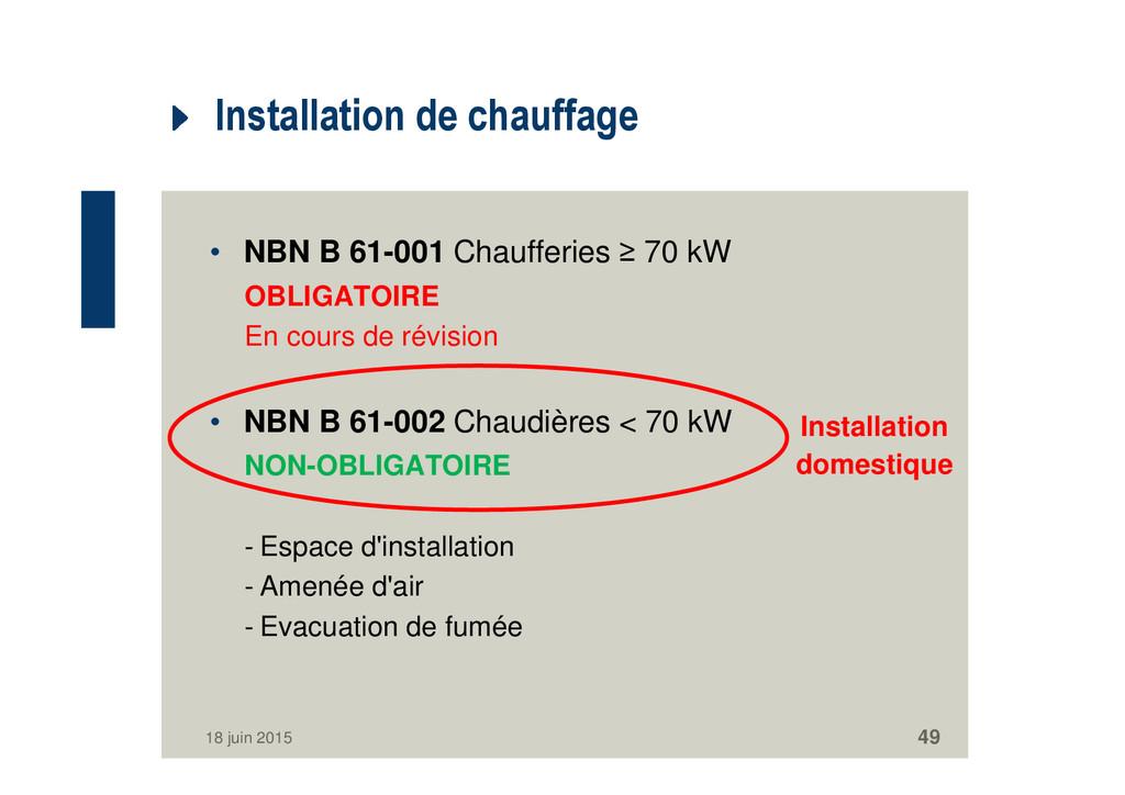 Installation de chauffage • NBN B 61-001 Chauff...