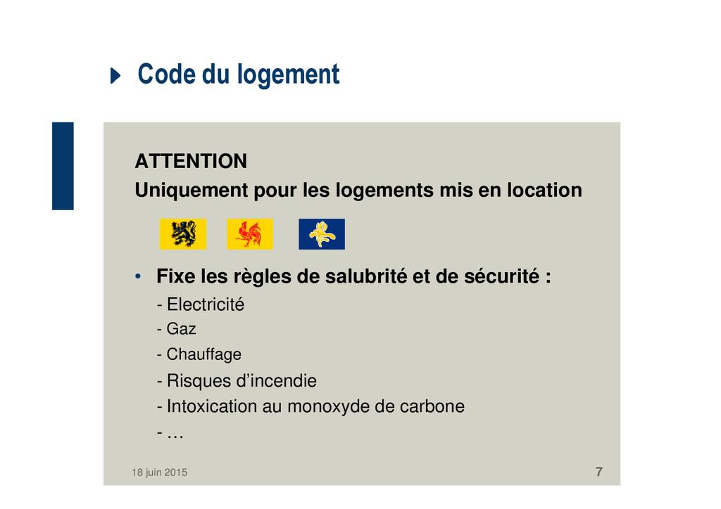 Code du logement ATTENTION Uniquement pour les ...
