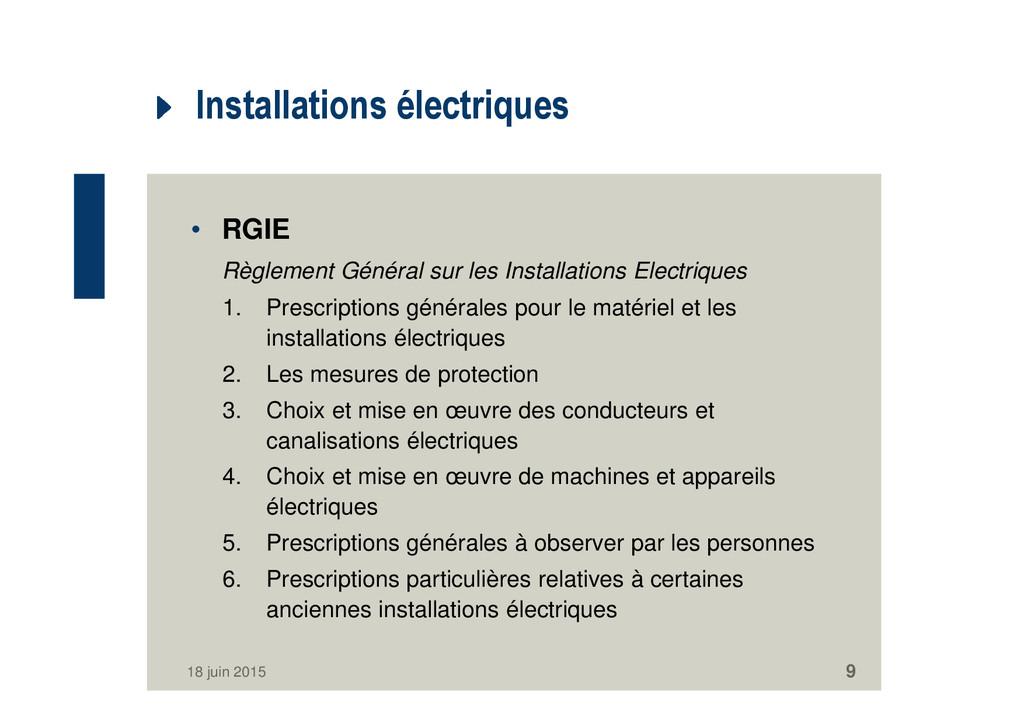 Installations électriques • RGIE Règlement Géné...