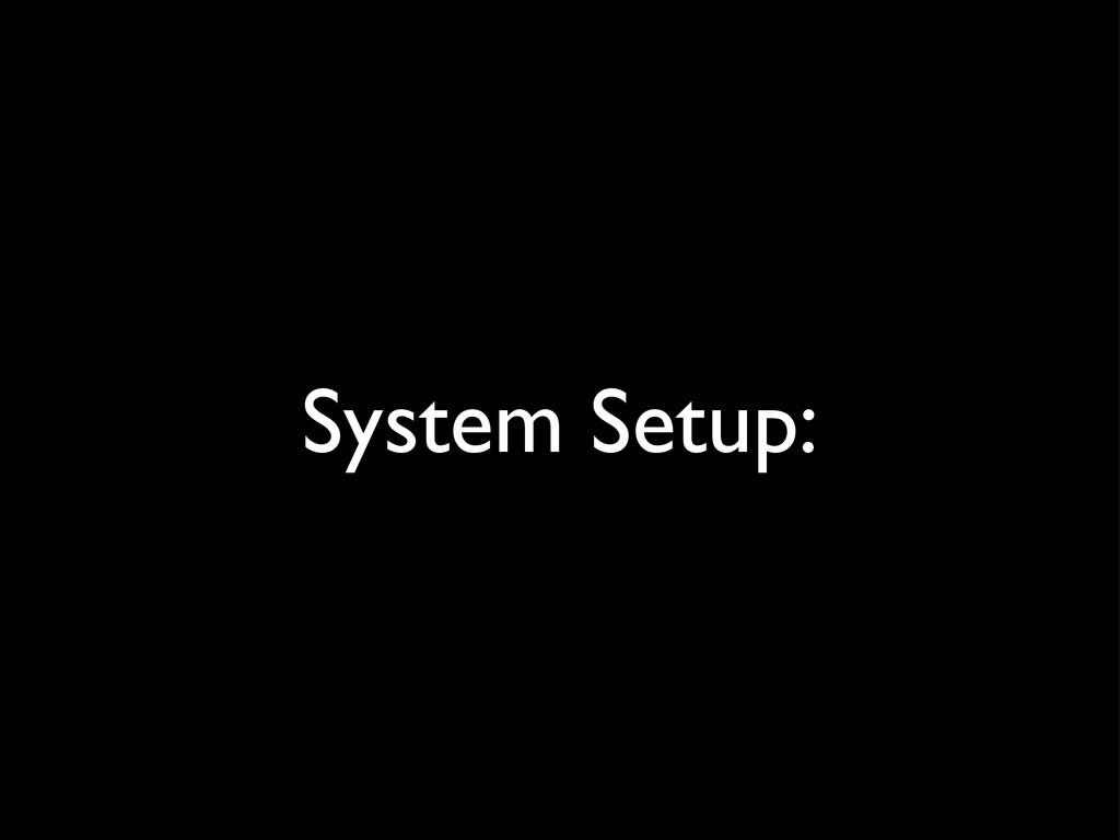 System Setup:
