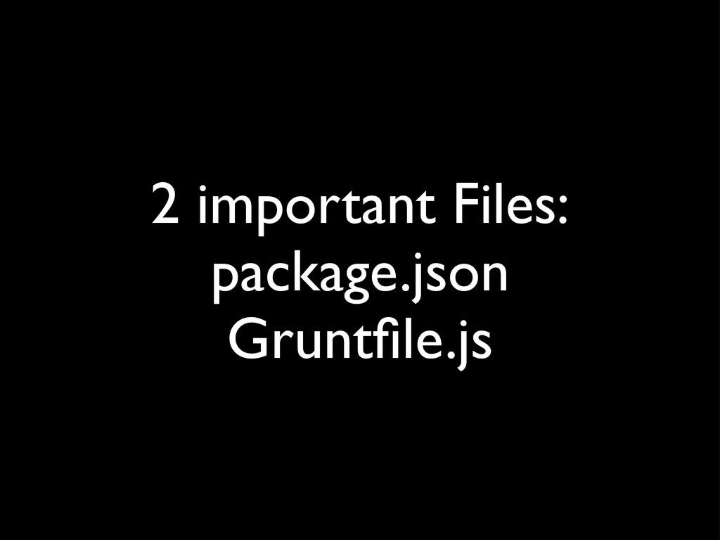 2 important Files: package.json Gruntfile.js