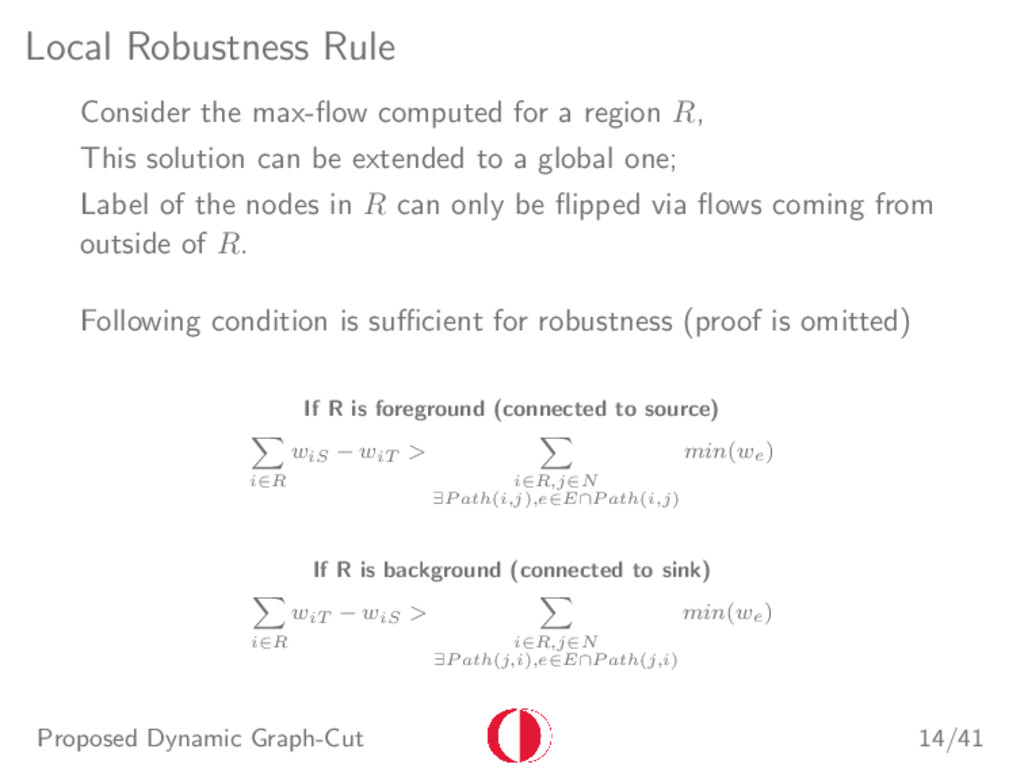 Local Robustness Rule Consider the max-flow comp...
