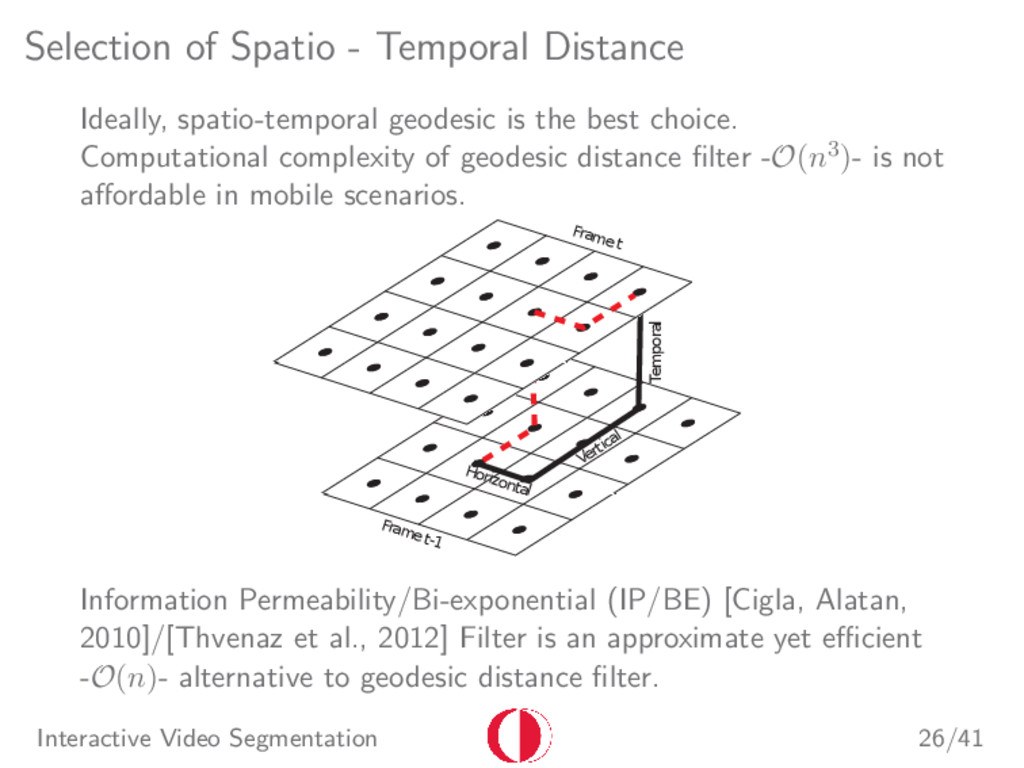 Selection of Spatio - Temporal Distance Ideally...