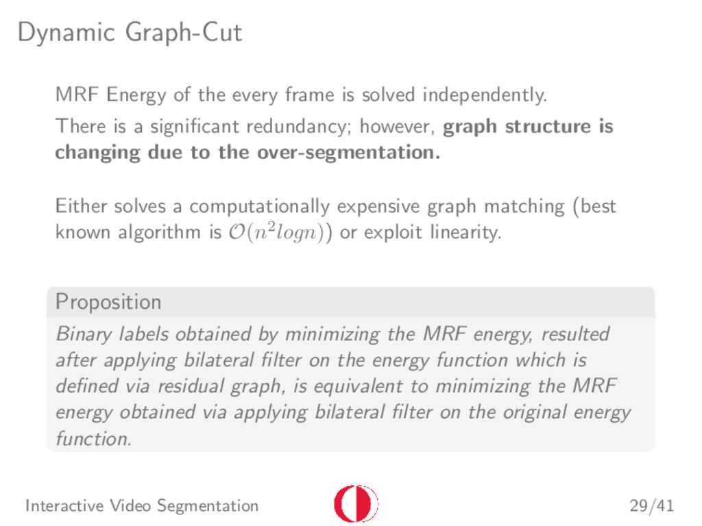 Dynamic Graph-Cut MRF Energy of the every frame...