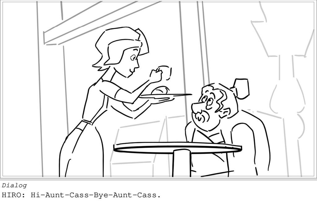 Dialog HIRO: Hi-Aunt-Cass-Bye-Aunt-Cass.