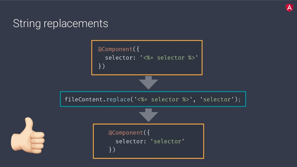 String replacements @Component({ selector: '<%=...