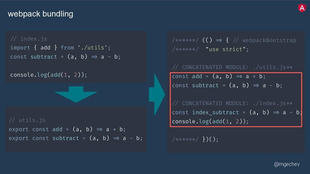 @mgechev // utils.js export const add = (a, b) ...