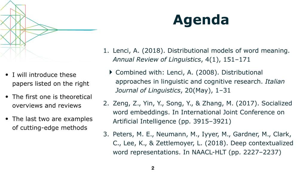 Agenda 1. Lenci, A. (2018). Distributional mode...