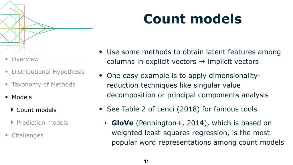 Count models • Use some methods to obtain laten...