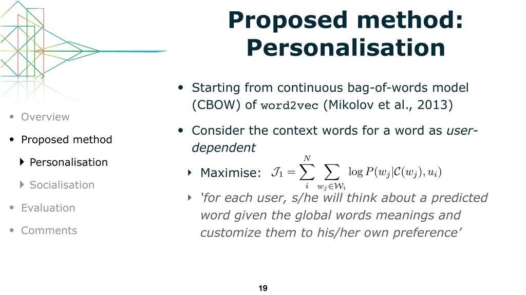 Proposed method: Personalisation • Starting fro...