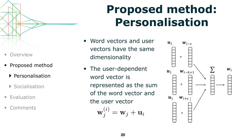 • Word vectors and user vectors have the same d...