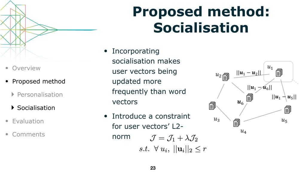 • Incorporating socialisation makes user vector...