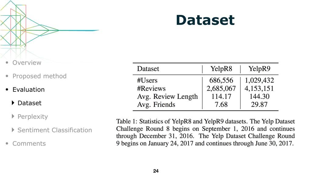 24 Dataset • Overview • Proposed method • Evalu...