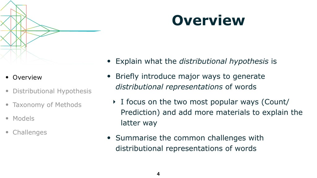 Overview • Explain what the distributional hypo...