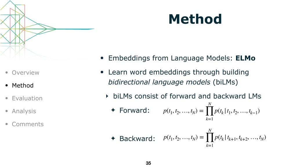 Method • Embeddings from Language Models: ELMo ...