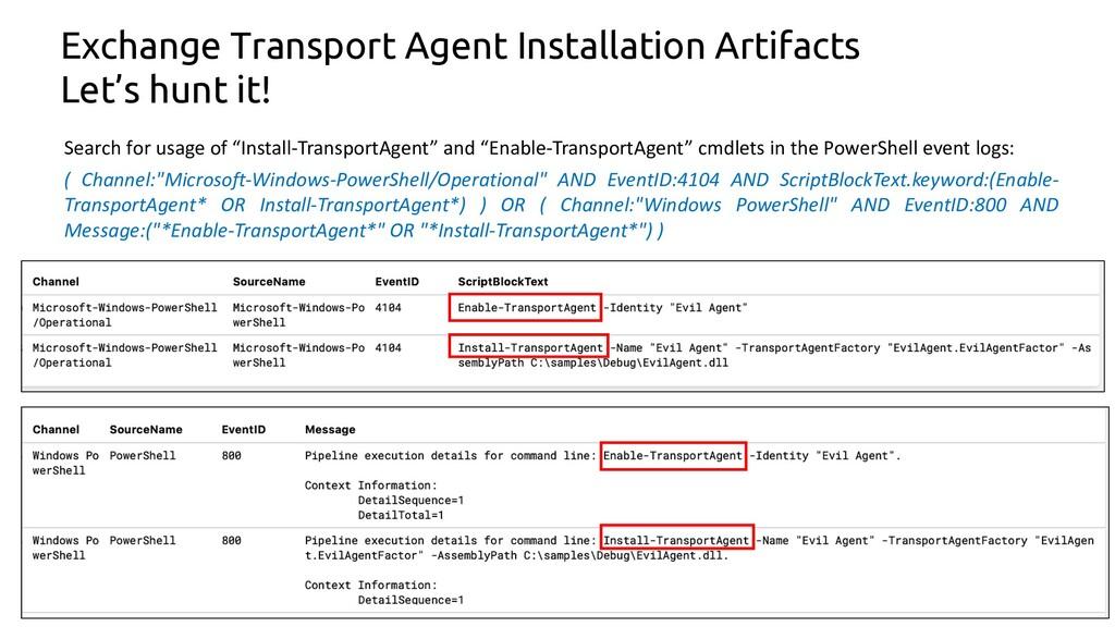 11 Exchange Transport Agent Installation Artifa...