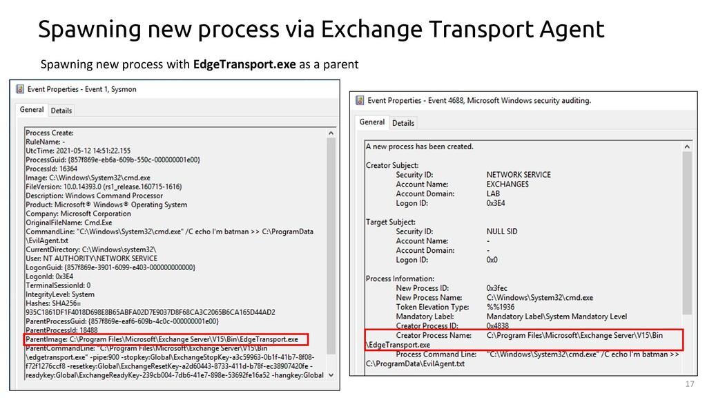 17 Spawning new process via Exchange Transport ...