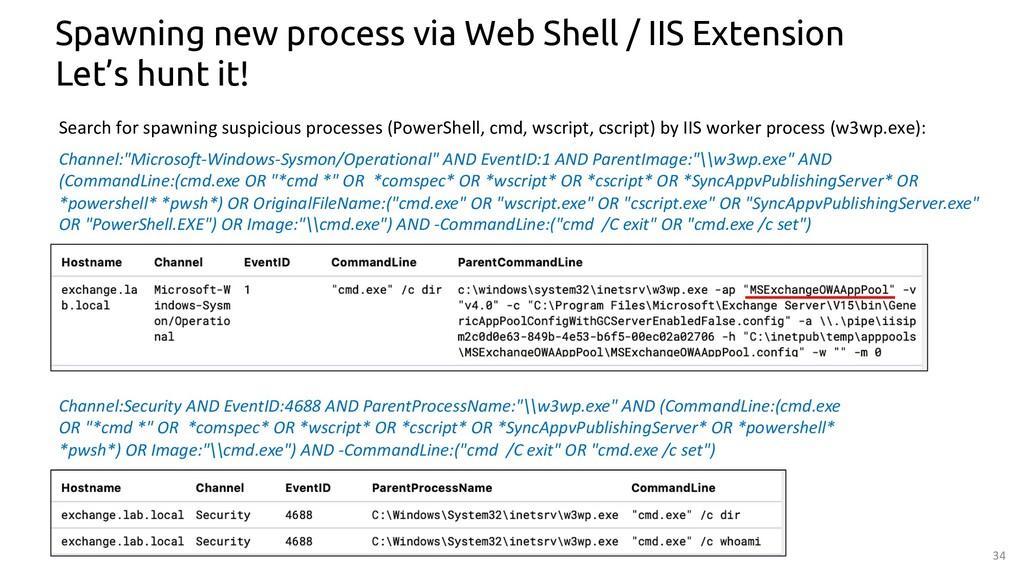 34 Spawning new process via Web Shell / IIS Ext...