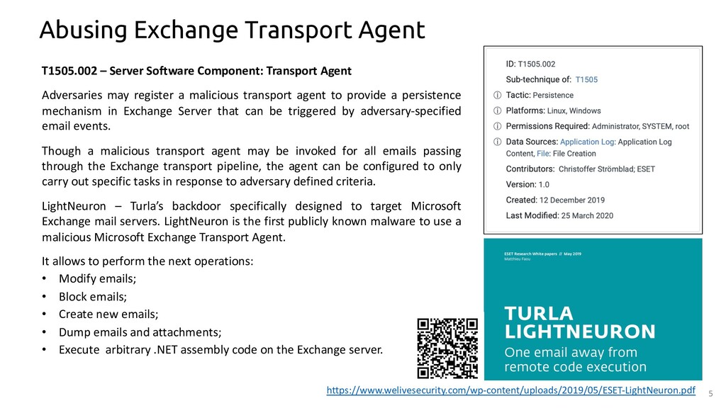 5 Abusing Exchange Transport Agent T1505.002 – ...