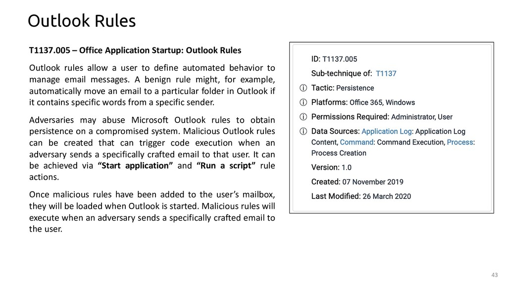 43 Outlook Rules T1137.005 – Office Application...