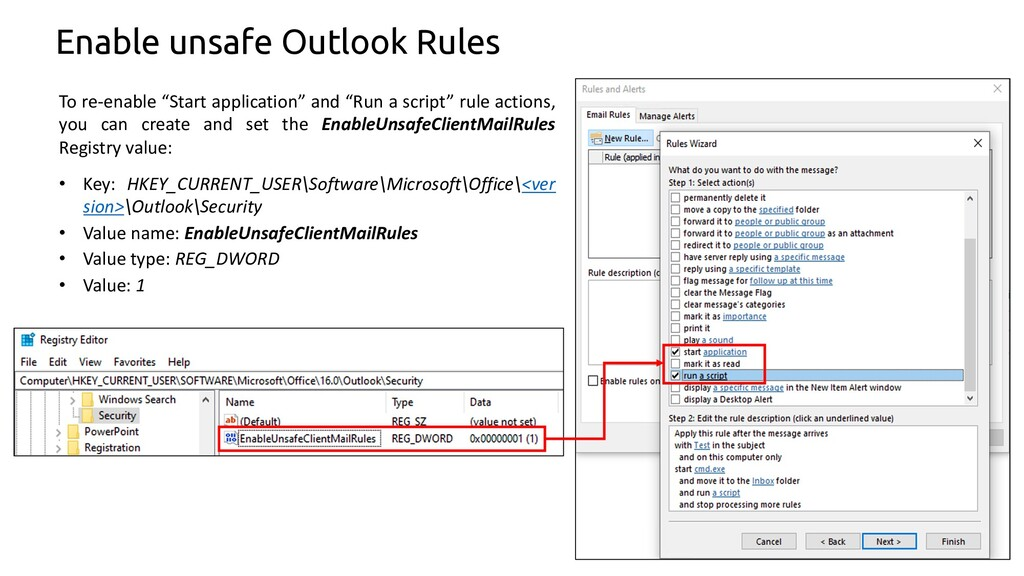 """45 Enable unsafe Outlook Rules To re-enable """"St..."""