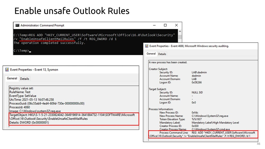 46 Enable unsafe Outlook Rules